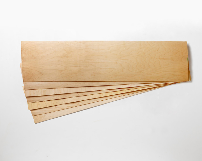 """Slightly smaller! 11 x 41 x 1/16"""" Maple skateboard veneer.   Order as many 7-layer sets as you want, no minimum!  SORRY - we are temporarily out of stock of this size of veneer."""