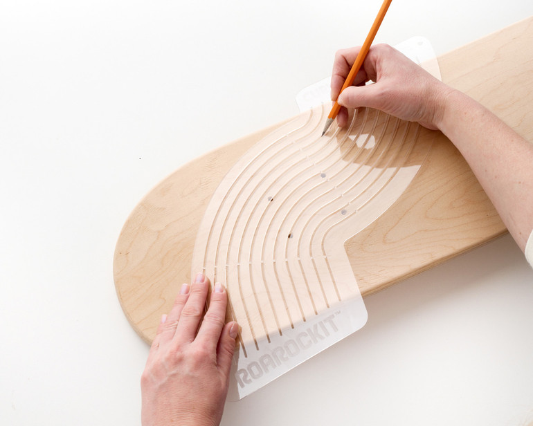Use this template to draw the radius of a skateboard wheel well, profile curve or other curvy shaped project.