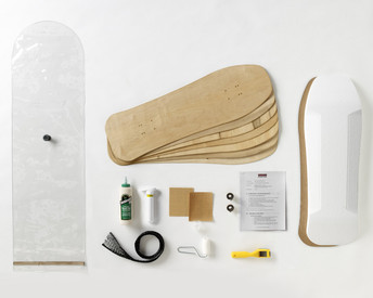 This kit contains everything you need to make one Old-School style skateboard. This classic shape offers a generous graphics area for retro designs.