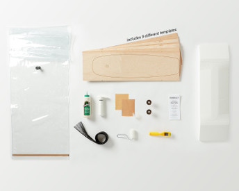 Kit contains everything you need to make 1 of 9 possible Multiboard skateboards: Canadian maple veneer sheets, mold for shaping, glue, roller, Thin Air Press and finishing tools