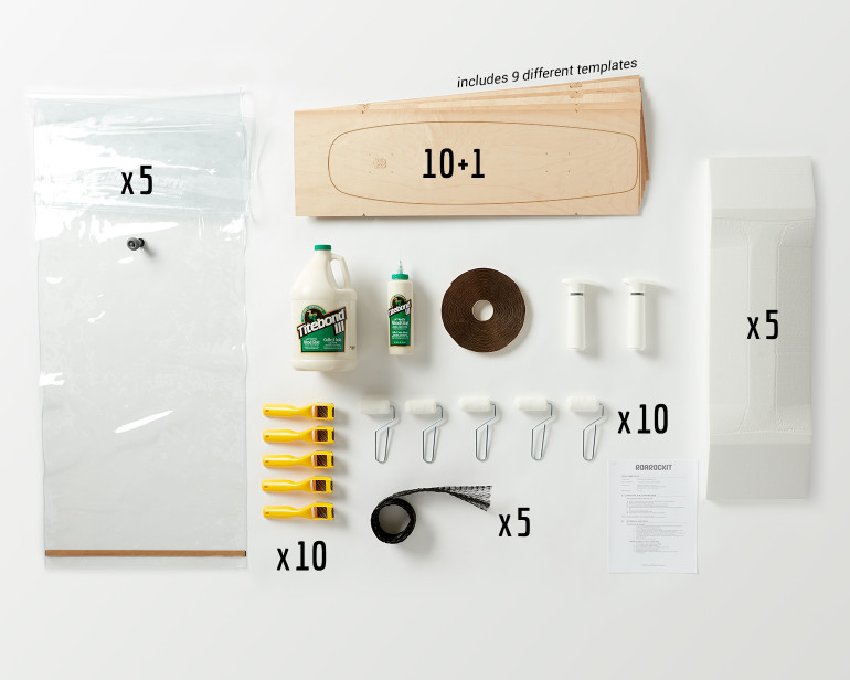 This Multi-Pack provides enough material for a group of 10 students to all build Multiboard skateboards.