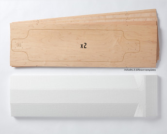 Includes two sets of Multiboard Longboard maple veneer 7-layer sets. Plus a matching 3-dimensionally shaped foam mold. Each veneer set allows you to make 1 of 8 possible board shapes.