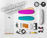 Roarockit's first ever complete kit featuring trucks and wheels from Longboard Living! This kit contains everything you need to make 2 Lil'Rockit decks: 100% Canadian maple veneer sheets, mold for shaping, glue, roller, Thin Air Press, finishing tools, and grip tape, along with trucks, wheels, bearings, and hardware for one complete board. Add a second set for only $99.95!