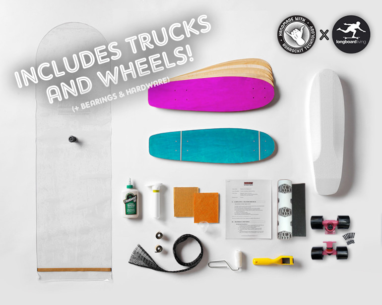 Roarockit's first ever complete teacher's kit featuring trucks and wheels from Longboard Living! This kit is designed for teachers as it includes a mini-curriculum plus everything everything you need to make 2 Lil'Rockit decks: 100% Canadian maple veneer sheets, mold for shaping, glue, roller, Thin Air Press, finishing tools, and grip tape, along with trucks, wheels, bearings, and hardware for one complete board. Add a second set for only $99.95!