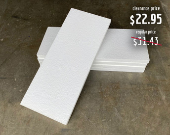 """Each foam slab is approximately 1"""" thick, 23"""" long, and 9.5"""" wide."""