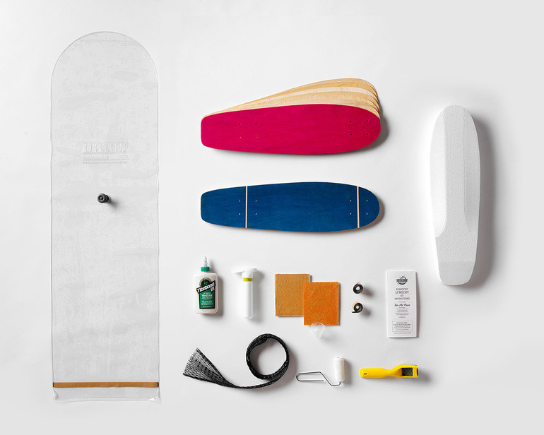 This kit contains everything you need to make 2 Lil'Rockit boards: 100% Canadian maple veneer sheets, mold for shaping, glue, roller, Thin Air Press and finishing tools