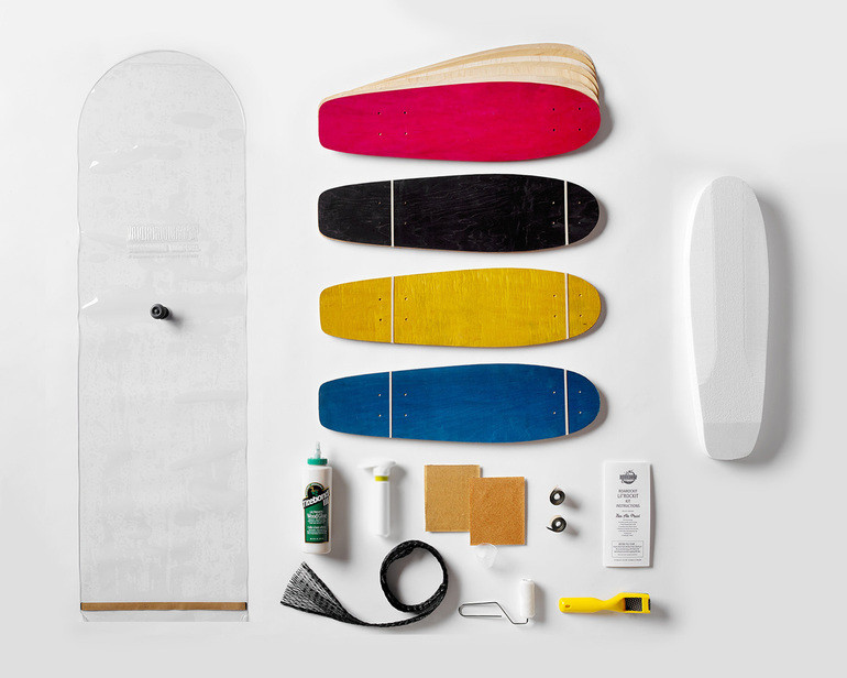 This kit contains everything you need to make 4 Lil'Rockit boards: 100% Canadian maple veneer sheets, mold for shaping, glue, roller, Thin Air Press and finishing tools