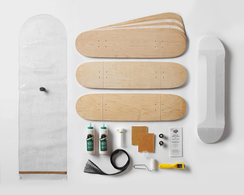 Kit contains everything you need to make 3 Street Decks: 100% Canadian maple veneer sheets, mold for shaping, glue, roller, Thin Air Press and finishing tools