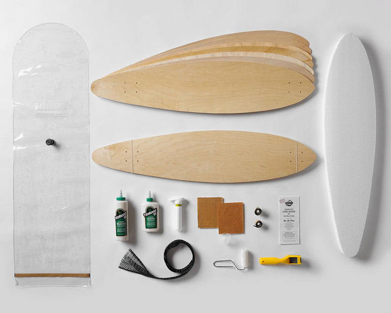 Kit contains everything you need to make 2 pintail long boards: 100% Canadian maple veneer sheets, mold for shaping, glue, roller, Thin Air Press and finishing tools
