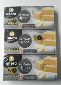 Alteza Turrón de Jijona 3 bars Spanish Almond delicacy 250g