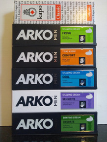 5 x 100ml Arko Shaving Creams from Turkey (one of each) PLUS 1 x Kapo Shaving  Cream