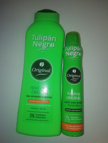 Tulipan Negro Original Unisex Shower Gel 600ml plus 120ml and Deodorant Spray 200ml