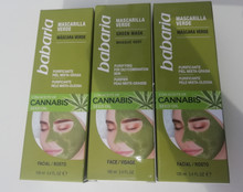 Babaria Green Face Mask with Cannabis Seed Oil 100ml 100% Vegan   X 3