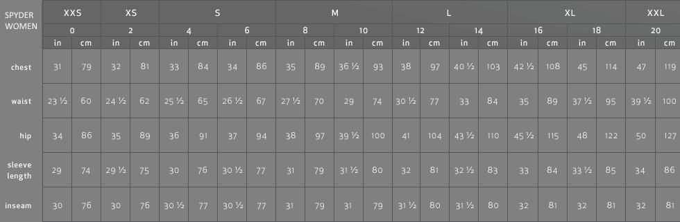 ea96d0b9f6d Womens Sizing Chart - Spyder Women
