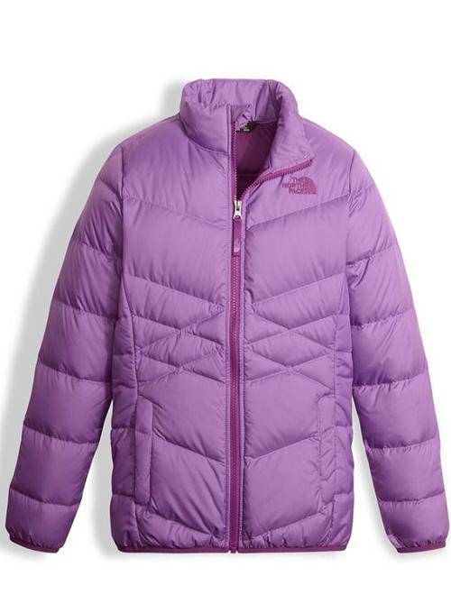 The North Face Girl's Andes Down Jacket shown here in BellFlower Purple. NF0A34V2