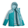 The North Face Girl's Mountain View Triclimate Jacket shown here in Nimbus Blue (Open). NF0A34UW