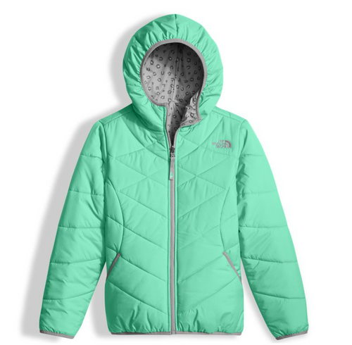 The North Face Girl's Reversible Perrito Jacket shown here in Bermuda Greeen. NF0A2TMG