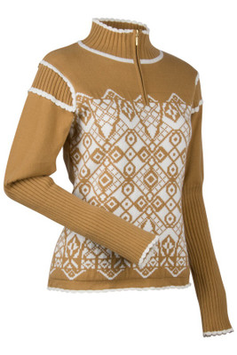 Nils Women's Trier Sweater in Camel/Tan and an Ivory White Pattern  How about a cup of hot chocolate ... a perfect complement to this sweater, in camel tan with an ivory colored lace pattern.      53% Cotton, 34% Acrylic and 13% stretch nylon blend     1/4 zip with scalloped Turtleneck, and lace like body     Contrasting scallop, cuff, hem and rib details