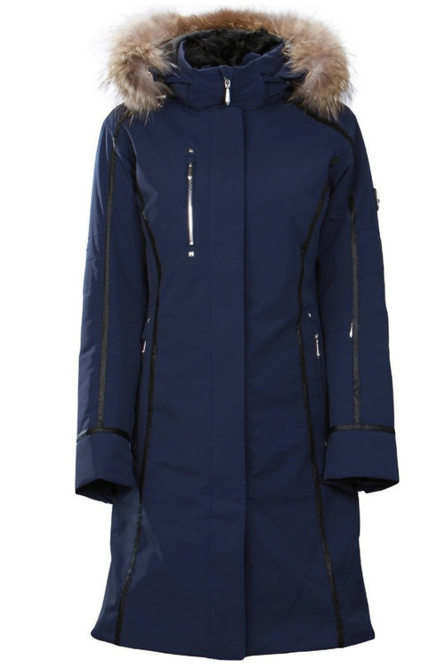 Descente Winter Coat | Womens Quebec | Fur Trimmed | D89761A  Dark Night Jacquard blue