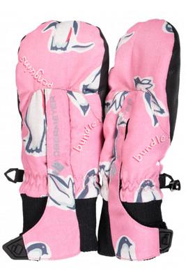 Obermeyer Ski Mitten | Youth Thumbs Up Print Mitten 19 | 78024 | 8152 | Penguins 'n Pink
