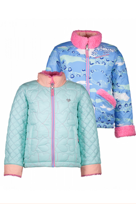 Obermeyer Ski Jacket | Girl's Jitterbug Reversible | 54009 | 7060 | Sea Glass | Front