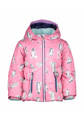 Obermeyer Ski Jacket | Girl's Cakewalk | 51040 | 8152 | Penguins 'n Pink | Front