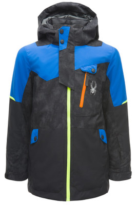 Spyder Tordrillo GTX Ski Jacket | Boy's | 183700 | 24 | Cloud Reflective Distress | Black | Turkish Sea | Front