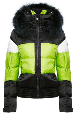 Toni Sailer Franka Fur Women's Ski Jacket, #282107F is another wonderfully rich combination of two superior fabrics: 4-way stretch polyamide and Shiny Pearl with a detachable fur hood trim