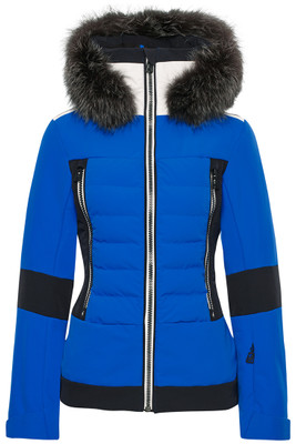 The Manou Fur Women's Ski Jacket, #282108F by Toni Sailer, features a real fur hood trim, 4-way stretch, is 20K, highly waterproof and breathable, has 100g of superior warming Thermolite Polyester insulation