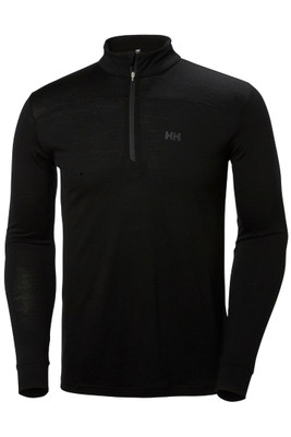 Helly Hansen Merino Mid 1/2 Zip | Men's | 48356 | 990 | Black | Front