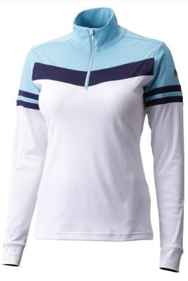 Descente Diem Zip Neck | Women's | DWWMGB07 | 0462 | Super White/ Cerulean Blue | Front