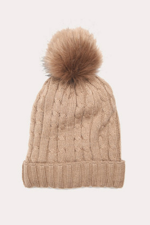Micthie Real Fur Knit Beanie | Women's | Taupe