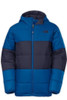 North Face Reversible JW Insulated Boy's Ski Jacket with hood, in Snorkel Blue, with a cosmic blue center band