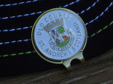 Golf Ball Marker Hat Clip St Andrews - The Old Course - White Enamel