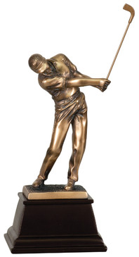 Forward Swing Male Golfer - Wow 9 inch Trophy Free Engraving