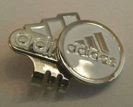 Adidas Ball Marker White & Silver Logo & Hat Clip - Great Looking! Free Champ!