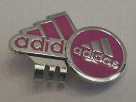 Adidas Ball Marker Pink & Silver Logo & Hat Clip - Great Looking! Free Champ!