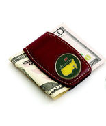 The Masters Green Brown Leather Money Clip