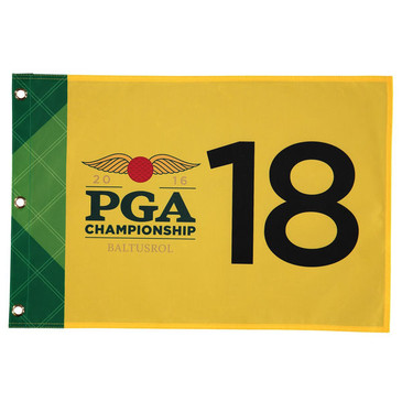 PGA Championship 2016 Official Pin Flag - Yellow - Free Ball Markers