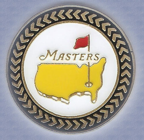 The Masters Championship Ball Marker & Hat Clip  / Black Trim Background