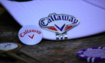 Callaway X Hot Tour WHITE Golf Hat & RED WHITE BLUE Callaway Hat Clip