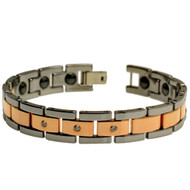 TERNIO Tungsten Carbide Rose Gold Plated 3 Cubic Zirconia