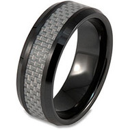 "Ceramic Ring With ""Silver Carbon Fiber Inlay"""