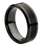 "Ceramic Ring With ""Black Carbon Fiber Inlay"""