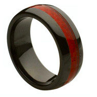 "Ceramic Ring With ""Red Carbon Fiber Inlay"""