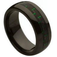 Ceramic Ring With Green Carbon Fiber Inlay
