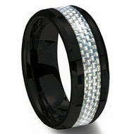 Ceramic Ring With Silver Carbon Fiber Inlay