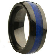 Beautiful Ceramic Ring With Blue Carbon Fiber Inlay