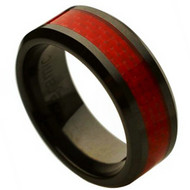 Ceramic Ring With Red Carbon Fiber Inlay