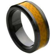 Ceramic Ring With Yellow Carbon Fiber Inlay high polish finish with Beveled edges
